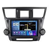 ADMLZQQ Auto-Stereo-Audio-Player GPS-Navigation Stereo-Audio Android 10 für Toyota Highlander 2007-2013 Lenkradsteuerung BT Mirror-Link WiFi FM USB +Rückfahrkamera,M500s