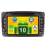 Android 10 Carplay+Android Auto 2G+32GB Rohm-DSP Bluetooth 5.0 Dual-Tuner Autoradio 7' DVD GPS Navigation für Mercedes Benz C/CLK KLASSE W203 W209 C209 W209 WiFi 4G+ USB AV-Out