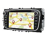 Android 10 Auto GPS-Navigation Bluetooth 2 Din Auto-Multimedia-System mit 7-Zoll-Touchscreen für Ford C-Max Connect Fiesta Unterstützung Spiegel-Link WiFi / 4G SWC DVR OBD2 DAB + (Schwarz)