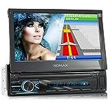 XOMAX XM-VN745 Autoradio mit Mirrorlink I GPS Navigation I Bluetooth I 7' / 18 cm Touchscreen Bildschirm I RDS, USB, AUX I Anschlüsse für Rückfahrkamera und Lenkradfernbedienung I 1 DIN