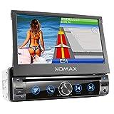 XOMAX XM-DN763 Autoradio mit Mirrorlink, GPS Navigation, Navi Software, Bluetooth Freisprecheinrichtung, 7 Zoll / 18cm Touchscreen Bildschirm, RDS, DVD, CD, USB, SD, AUX, 1 DIN