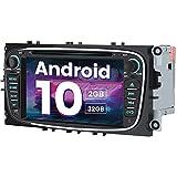 AWESAFE Autoradio Android 10 für Ford Focus Mondeo S-Max C-Max Galaxy, 2GB+32GB, unterstützt DAB WLAN Bluetooth CD DVD Doppel Din Radio mit 7 Zoll Bildschirm - Schwarz