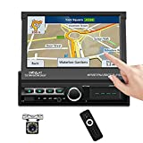 Podofo 1 Din Autoradio GPS 7 Zoll Faltbarer Touchscreen Bluetooth Auto Radio FM MP5 Navigation Player USB/AUX/TF Spiegel Link für Android/IOS +Rückfahrkamera+Fernbedienung