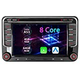 7' Android 10 Octa-Core 4G+64GB Eingebautes CARPLAY+Android Auto DSP DVD GPS Autoradio Navigation für VW Passat B6 Golf 5 6 Touran Tiguan Multivan T5 Polo Caddy Skoda Seat WiFi 4G OBD+
